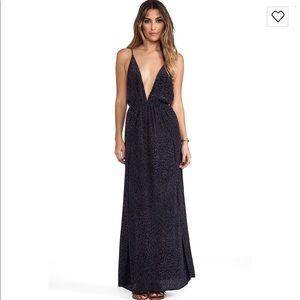 Indah River Split Front Wrap Dress in Padi Black